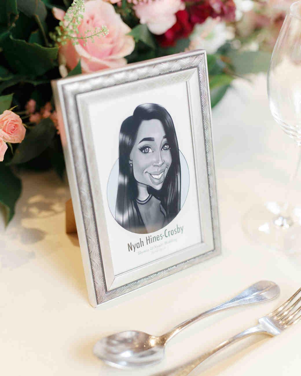 ryan thomas wedding place card caricature