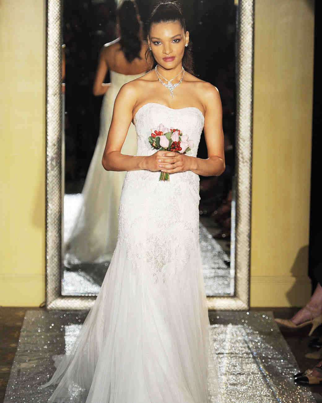 Oleg Cassini Tulle Mermaid Gown