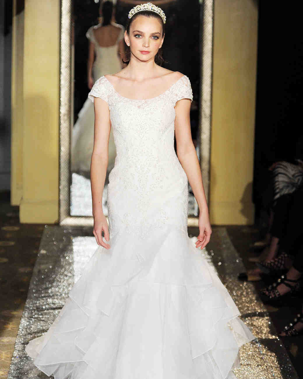 Oleg Cassini Cap Sleeve Mermaid Gown