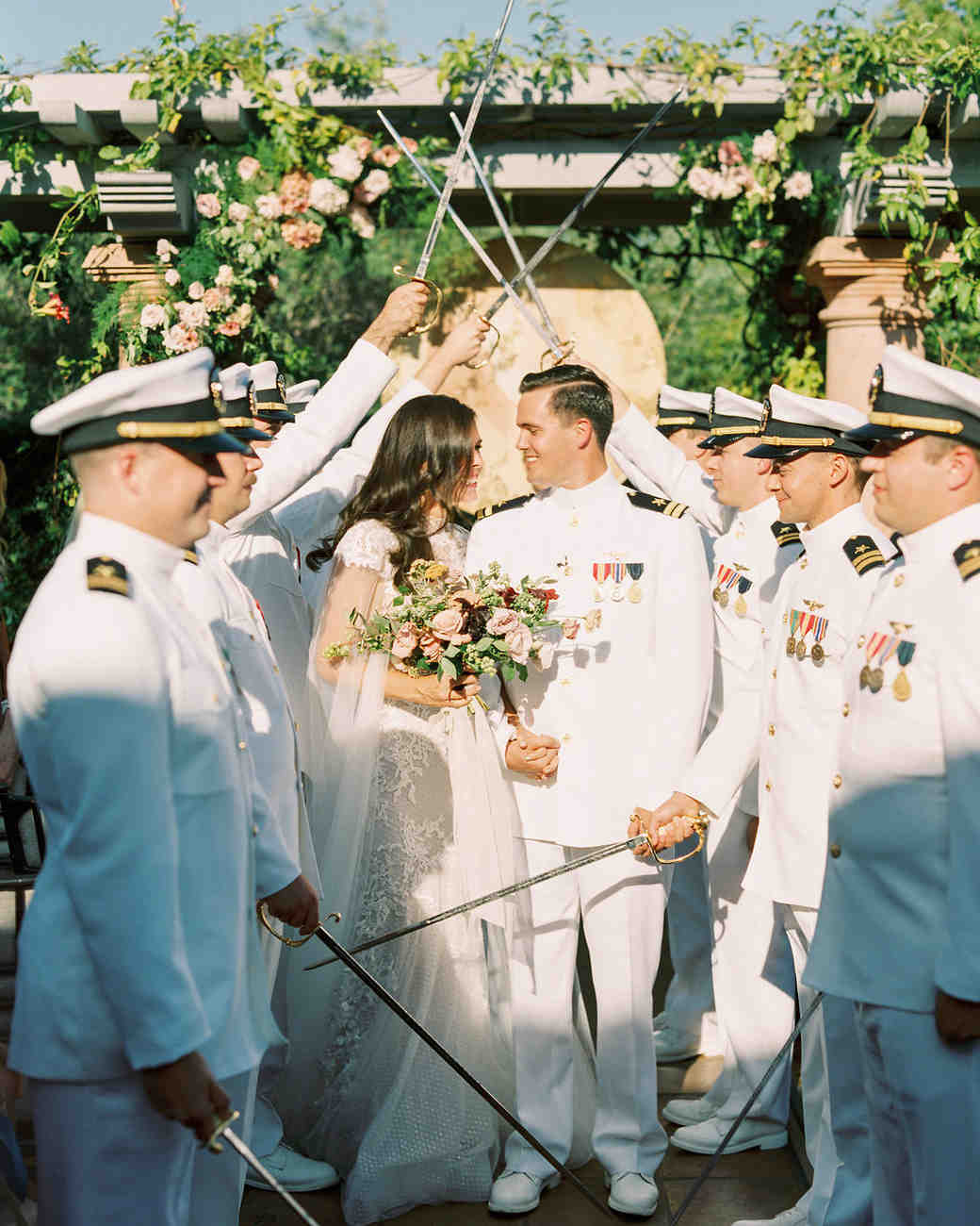 paige zack wedding recessional with swords