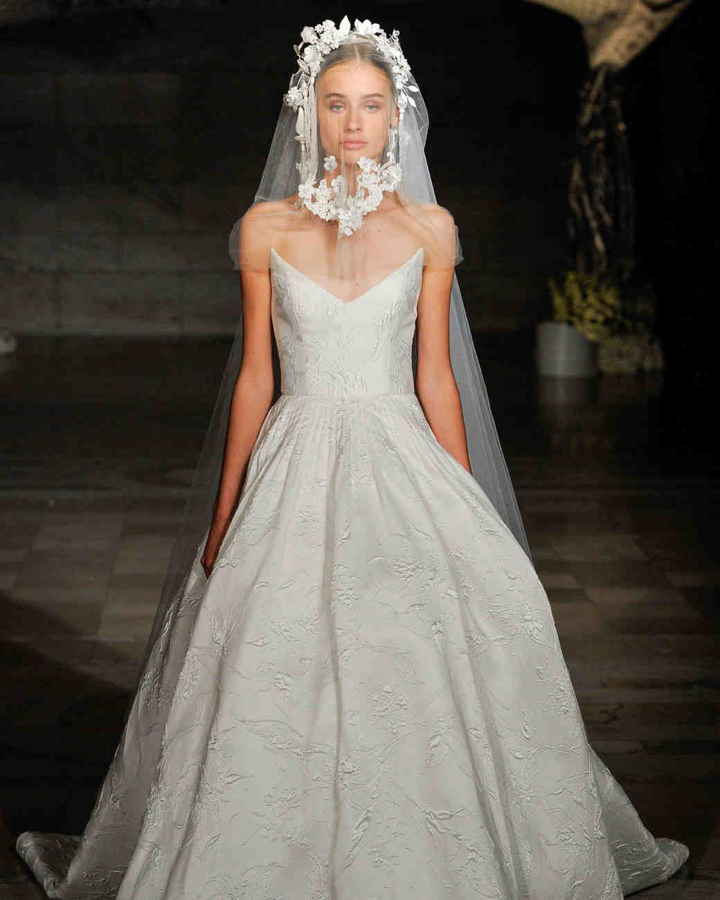 reem acra fall 2019 n-neck flora applique wedding dress