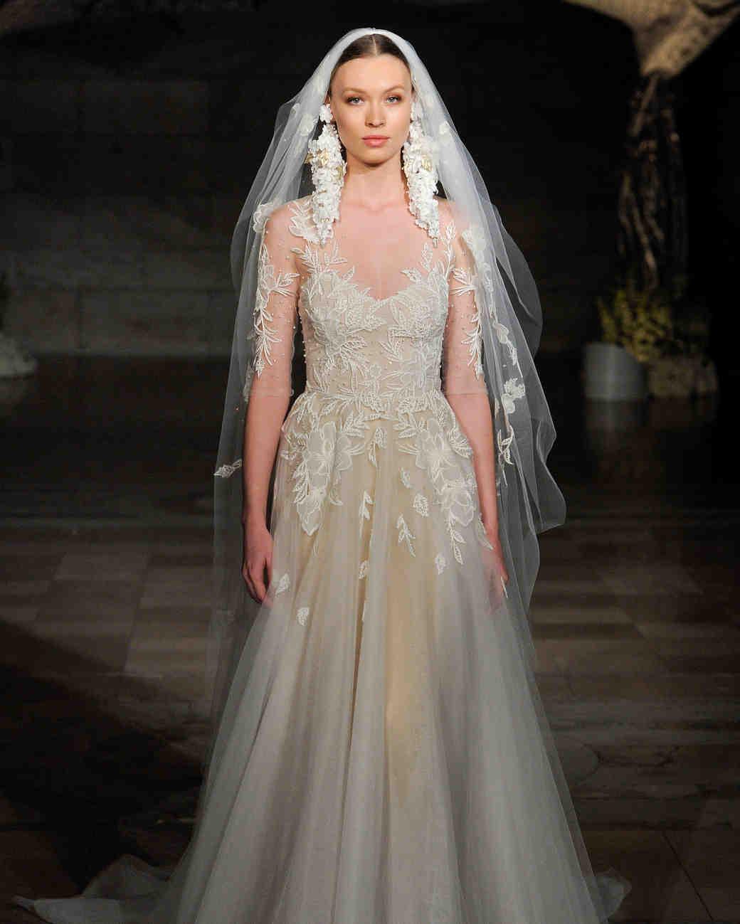 reem acra fall 2019 sheath floral applique wedding dress