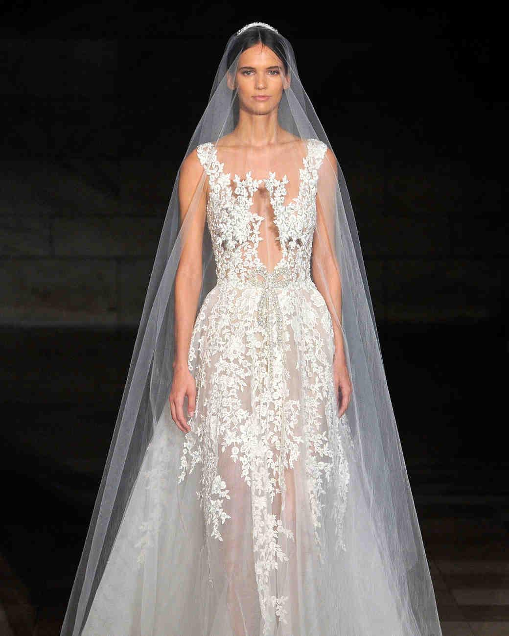 reem acra fall 2019 sheer spaghetti strap wedding dress