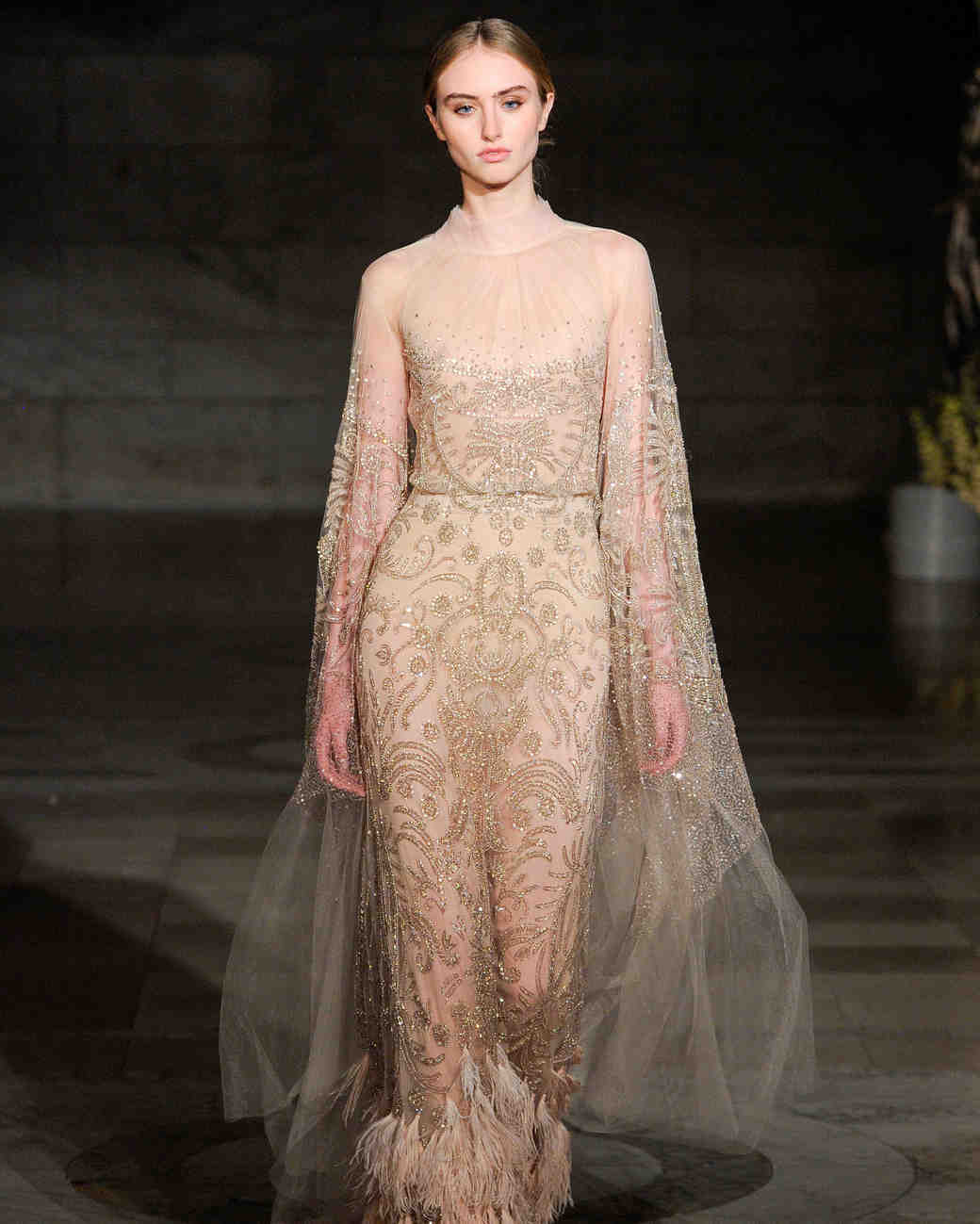 reem acra fall 2019 pink jumpsuit beaded fringe wedding dress