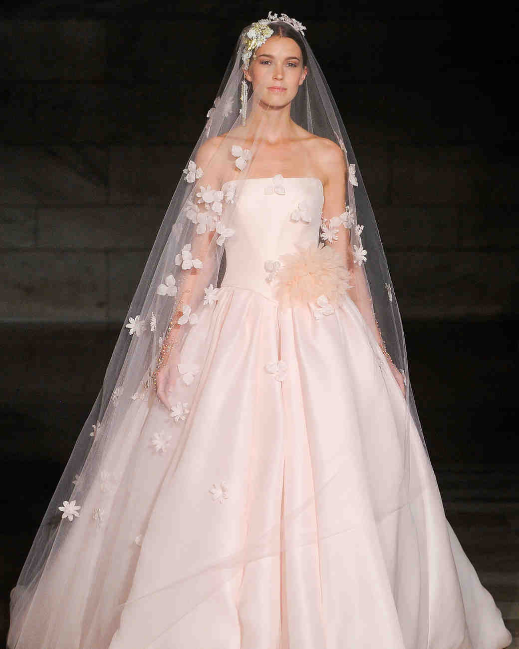 reem acra fall 2019 strapless pink ballgown wedding dress