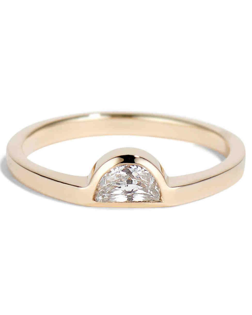 Bario Neal Half-Moon White Sapphire Ring