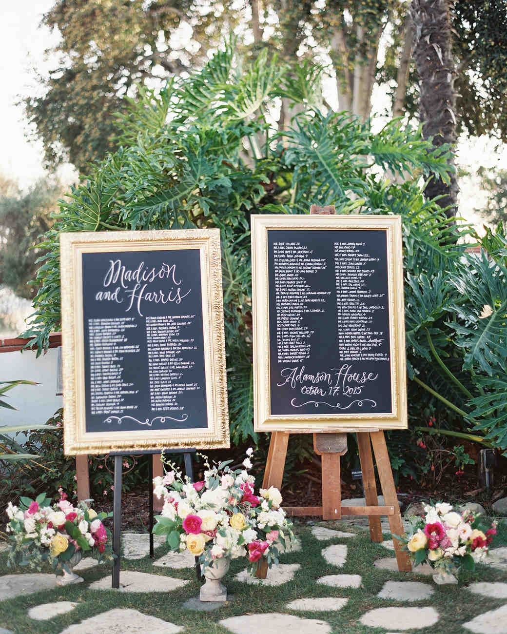 Elegant gold framed chalkboard seating chart
