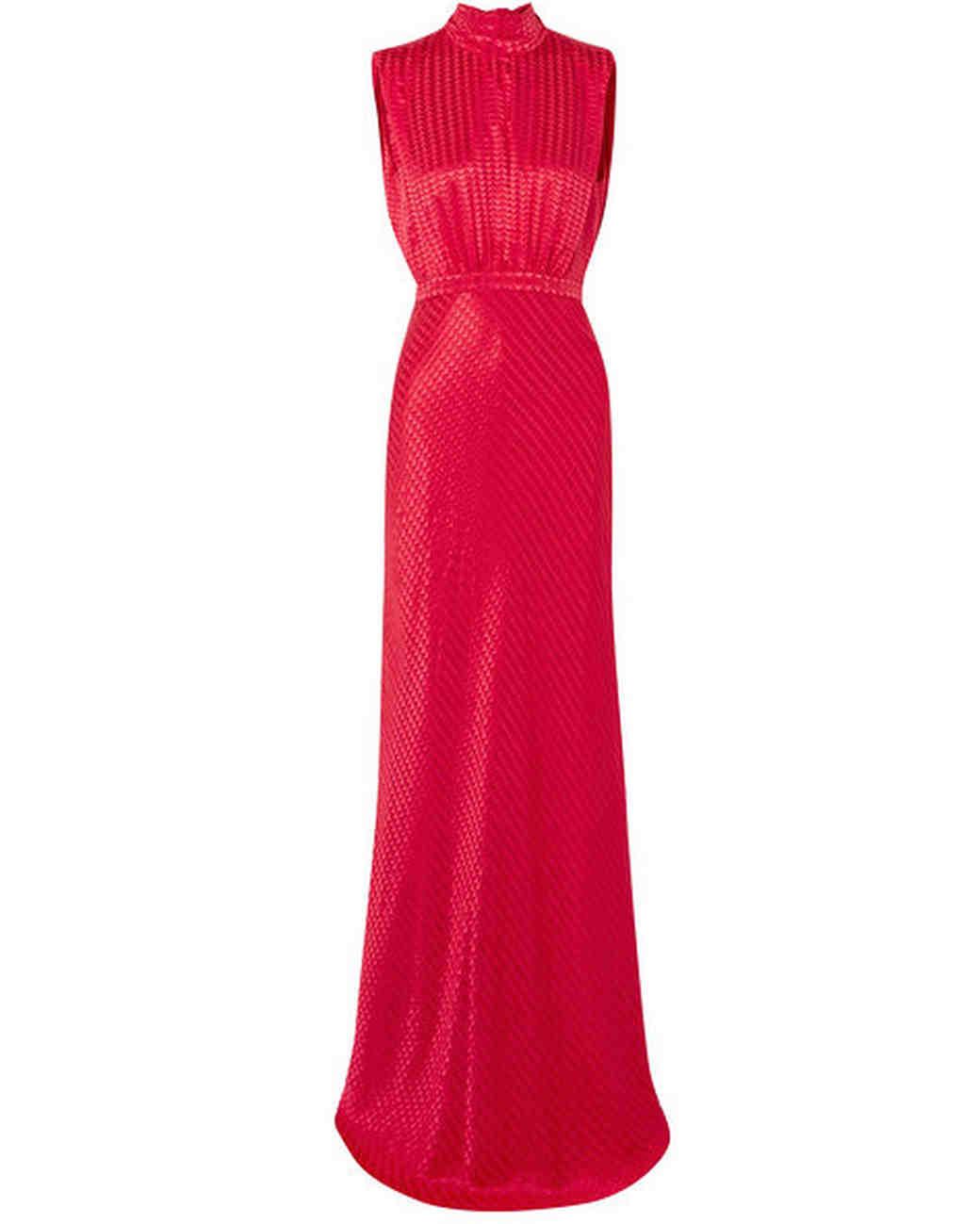 red high-collar silk dress