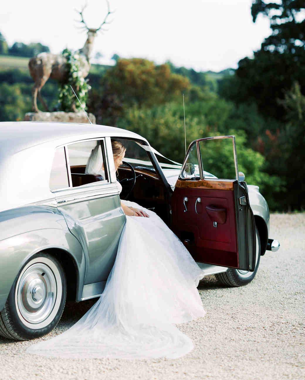 sophie christopher wedding bride in vintage car