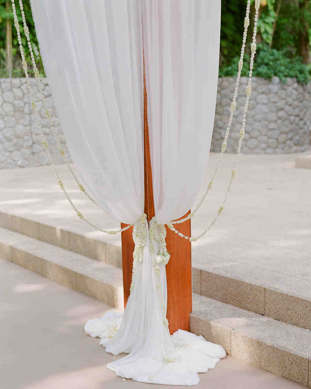 stacy brad wedding thailand draping on pole