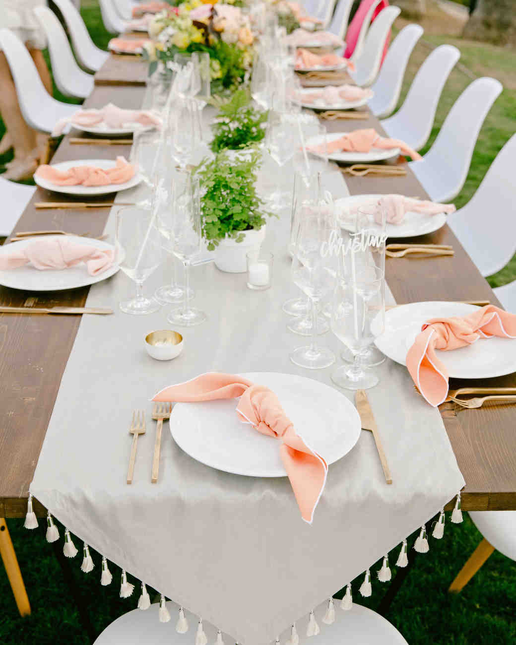 peach blush serviettes tasseled table runner