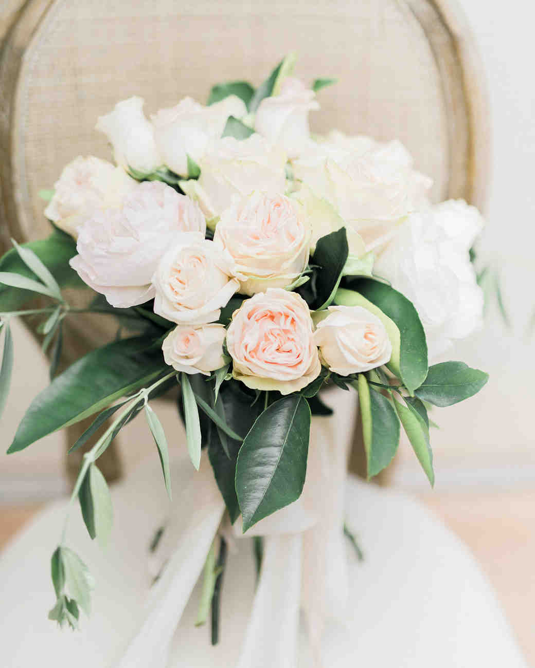 Soft pink rose wedding bouquet