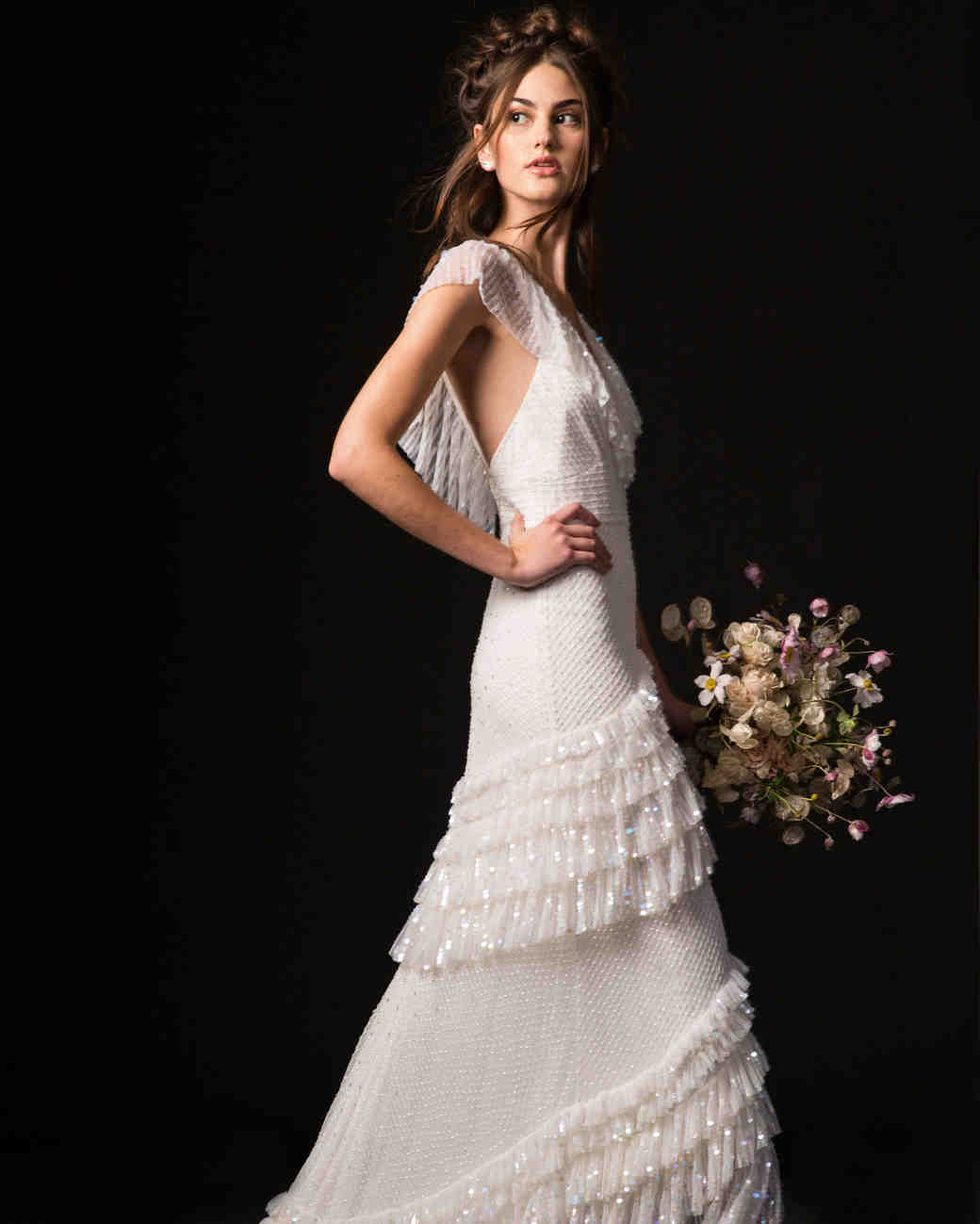 temperley fall 2019 cap sleeve fringe wedding dress