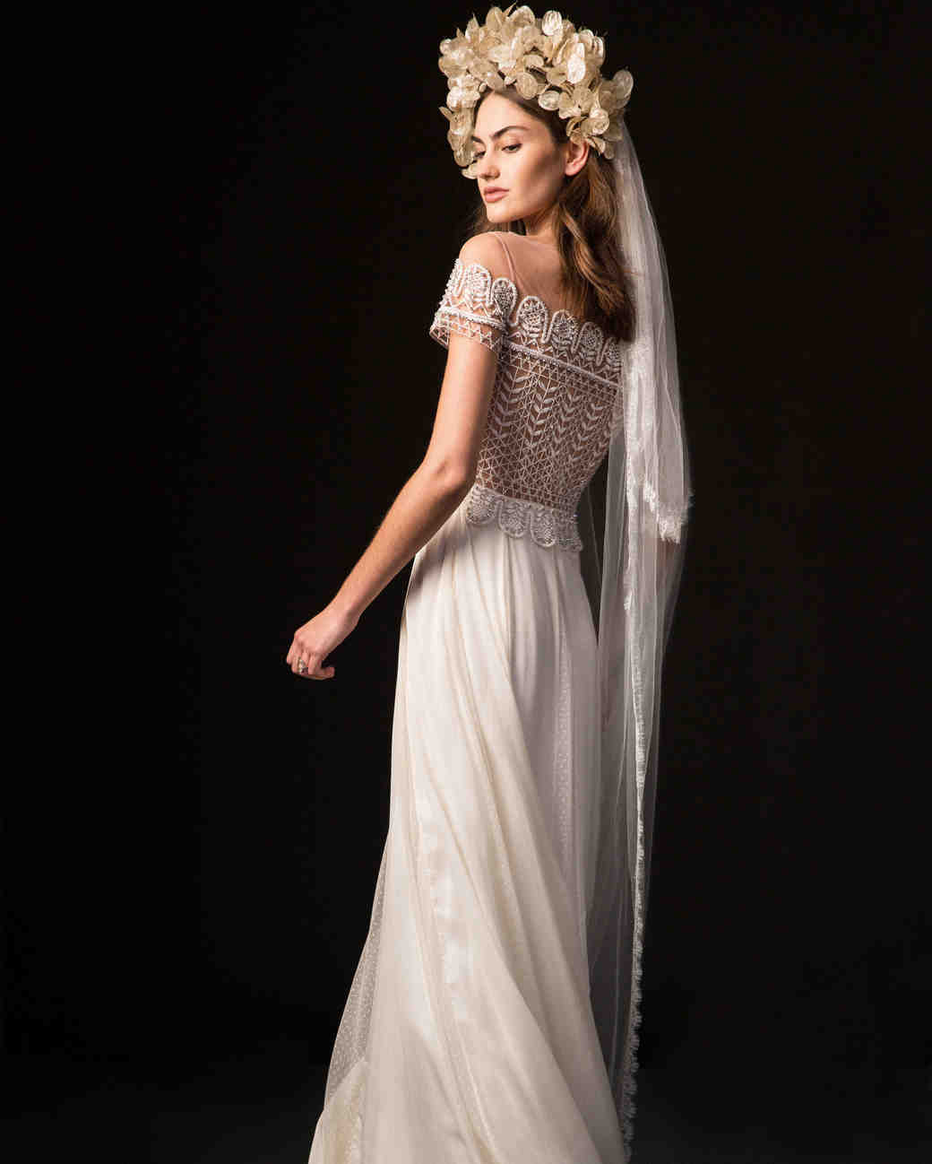 temperley fall 2019 spaghetti strap over the shoulder sheath wedding dress