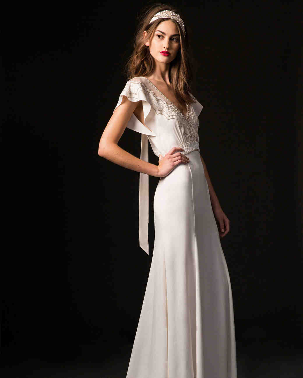 temperley fall 2019 cap sleeve sheath wedding dress