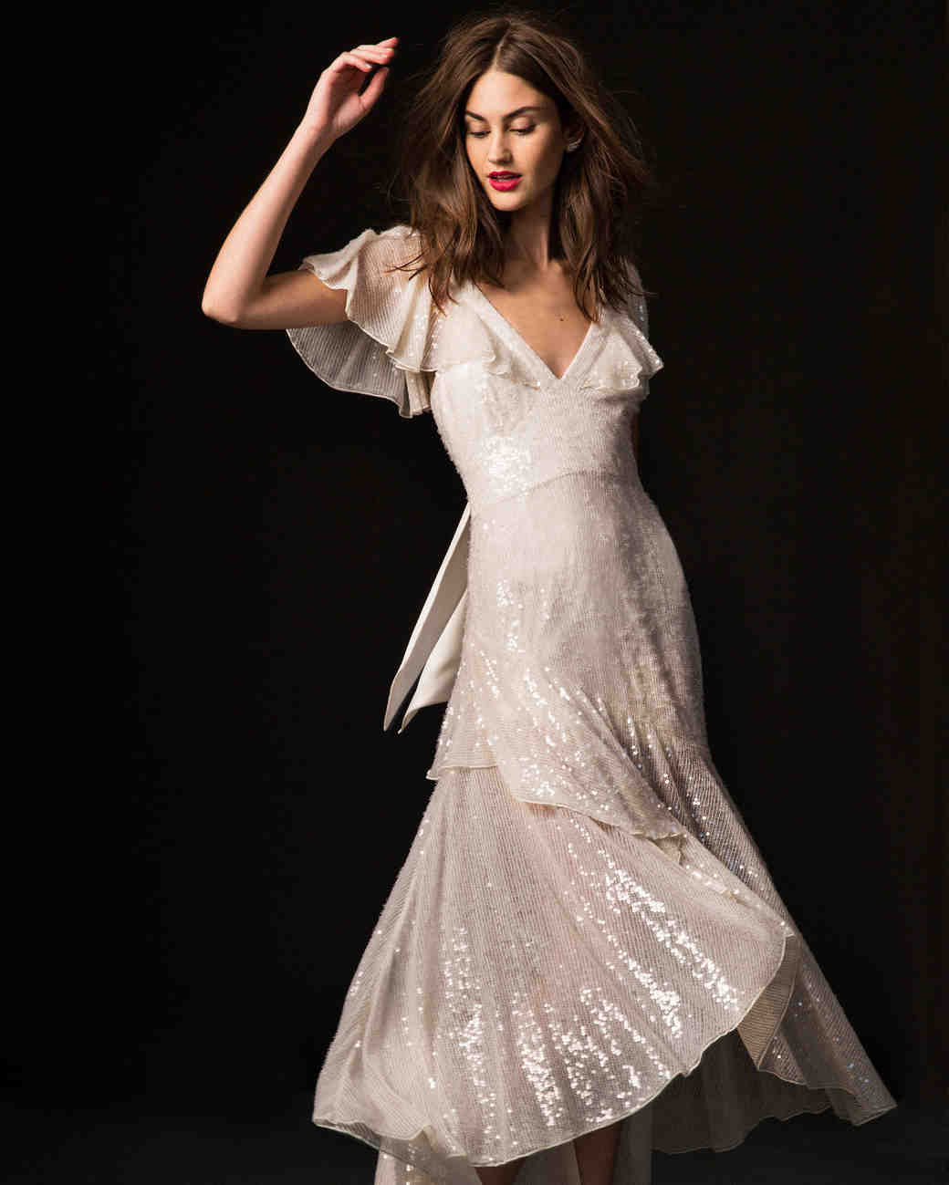 temperley fall 2019 v-neck high-low dress wedding dress