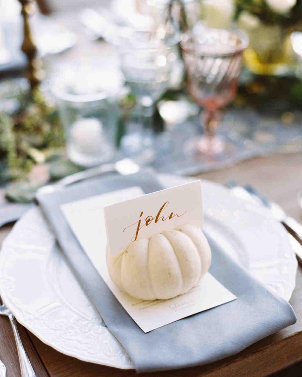 wedding place card small pumpkin