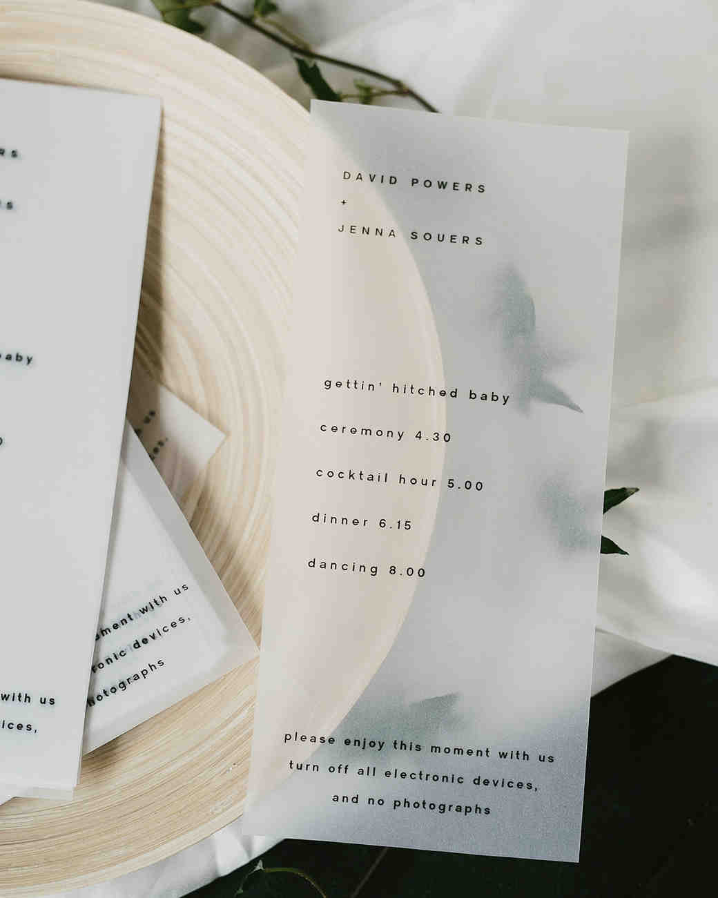 vellum wedding schedule