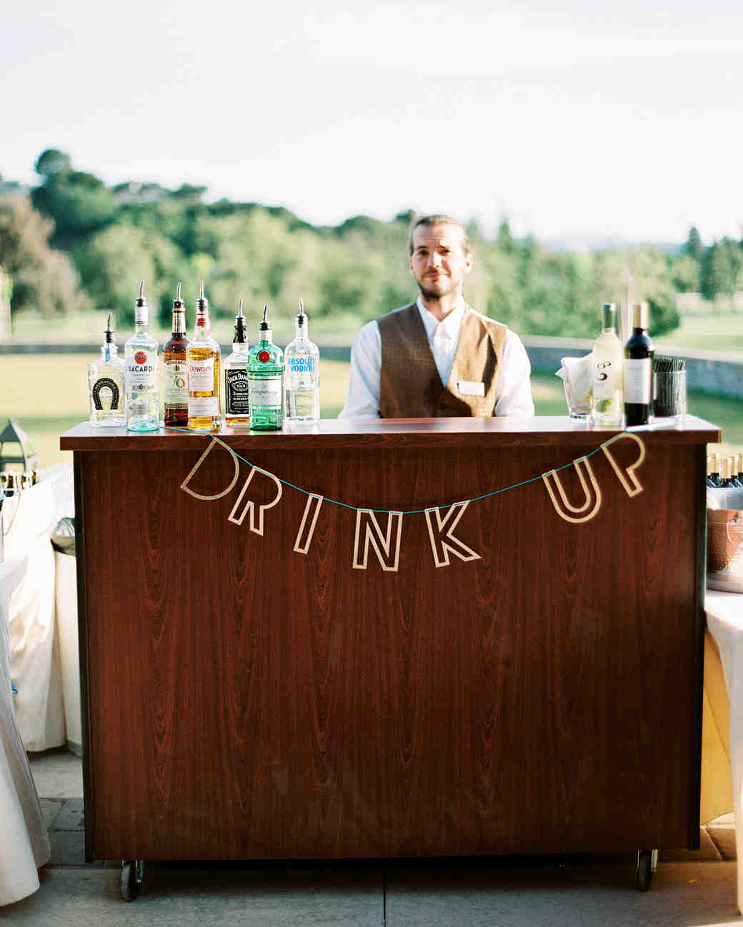wedding bar sign wooden drink up bartender outdoor