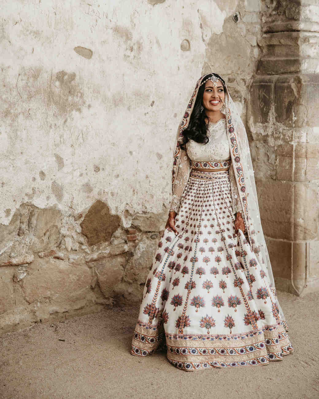 bride gown lengha matching veil and jewelry