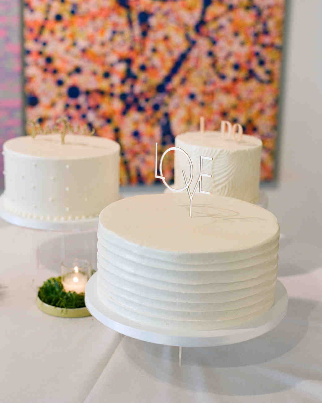 White Wedding Cake Trio with Fun Metal Toppers