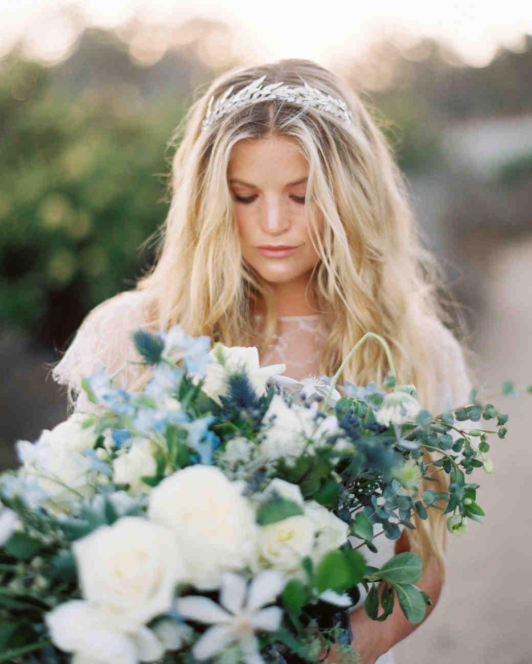 bride wearing grecian silver greenery crown