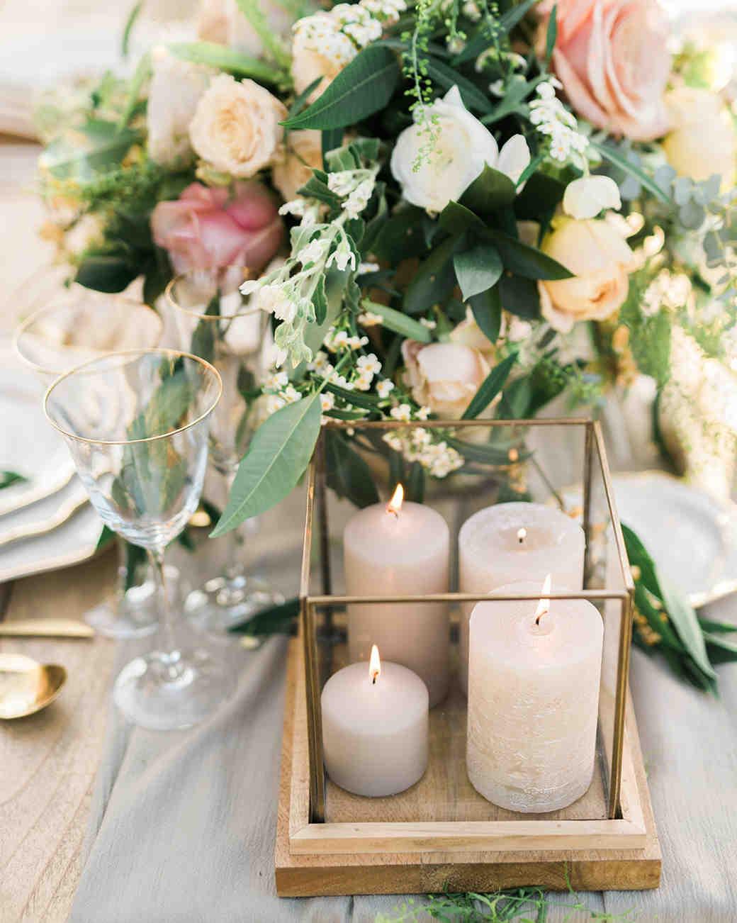 candle wedding centerpiece grey wood brass
