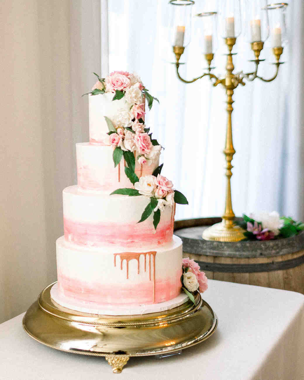 dawn rich wedding pink drip cake
