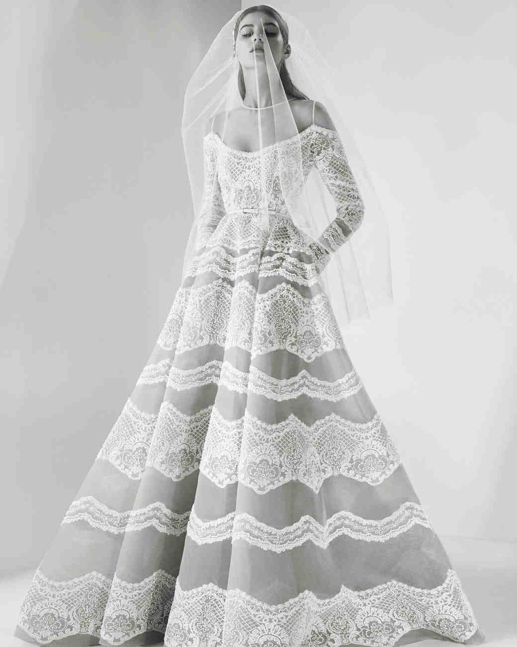 Lacey Long-Sleeve Wedding Dress with Pockets