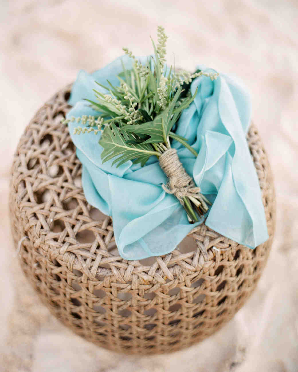 greenery bouquet wrapped in twine
