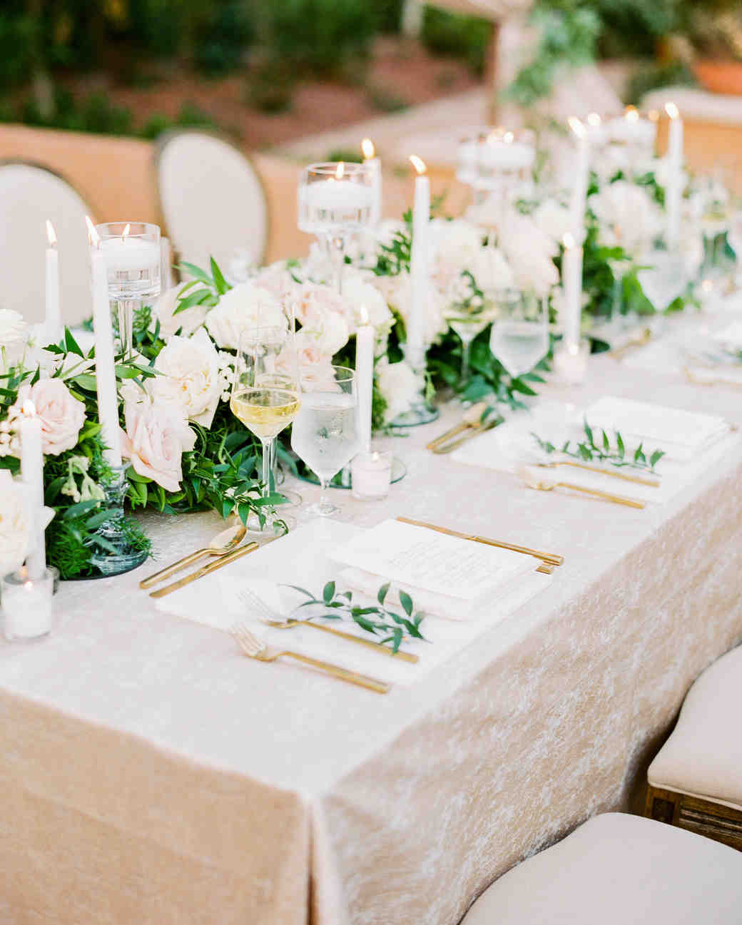 reception tables white flowers and greenery