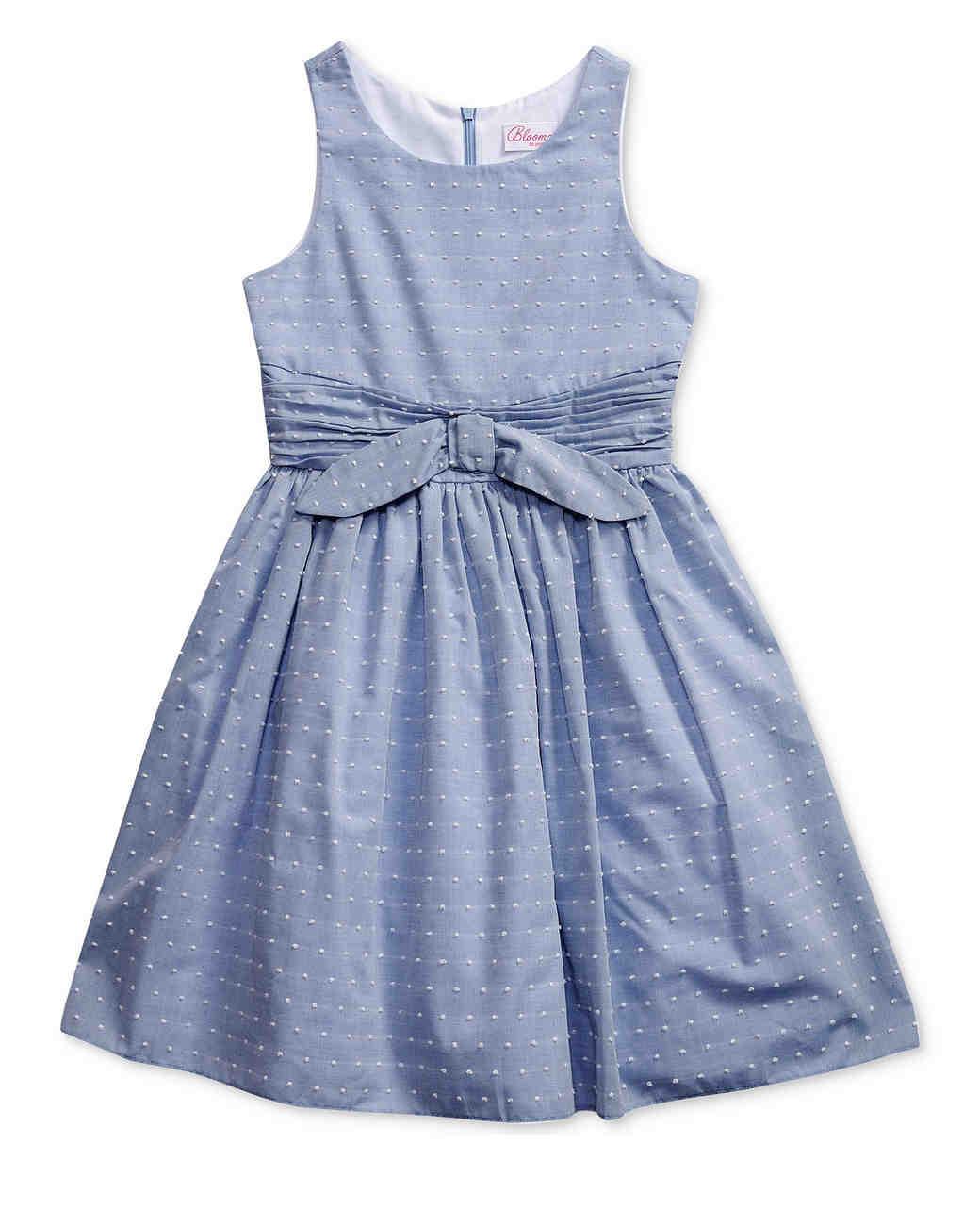 blue flower girl dress bow