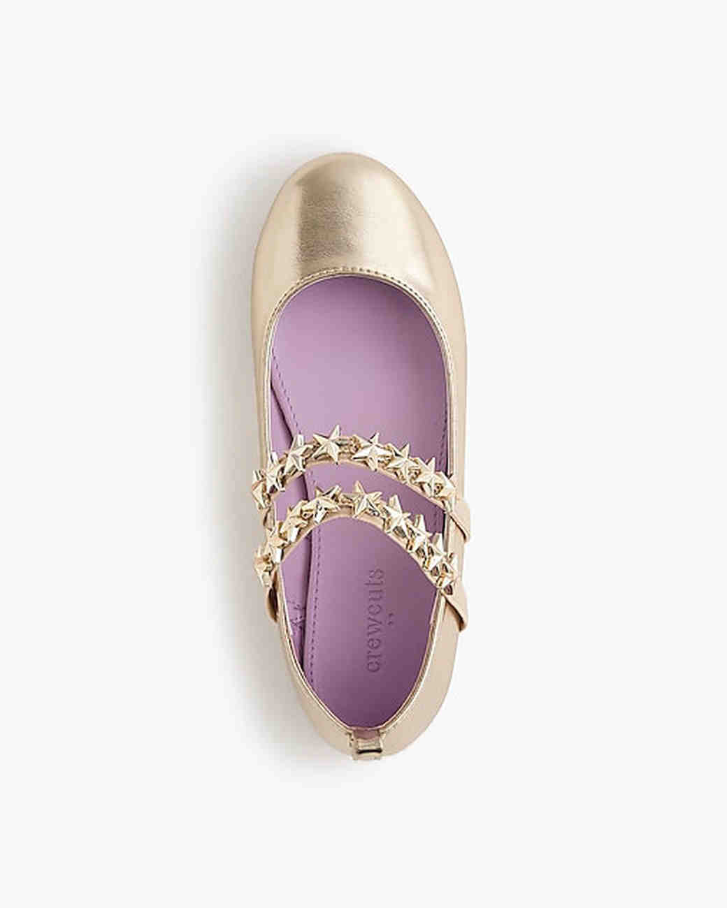 flower girl shoes metallic ballet flats with star straps