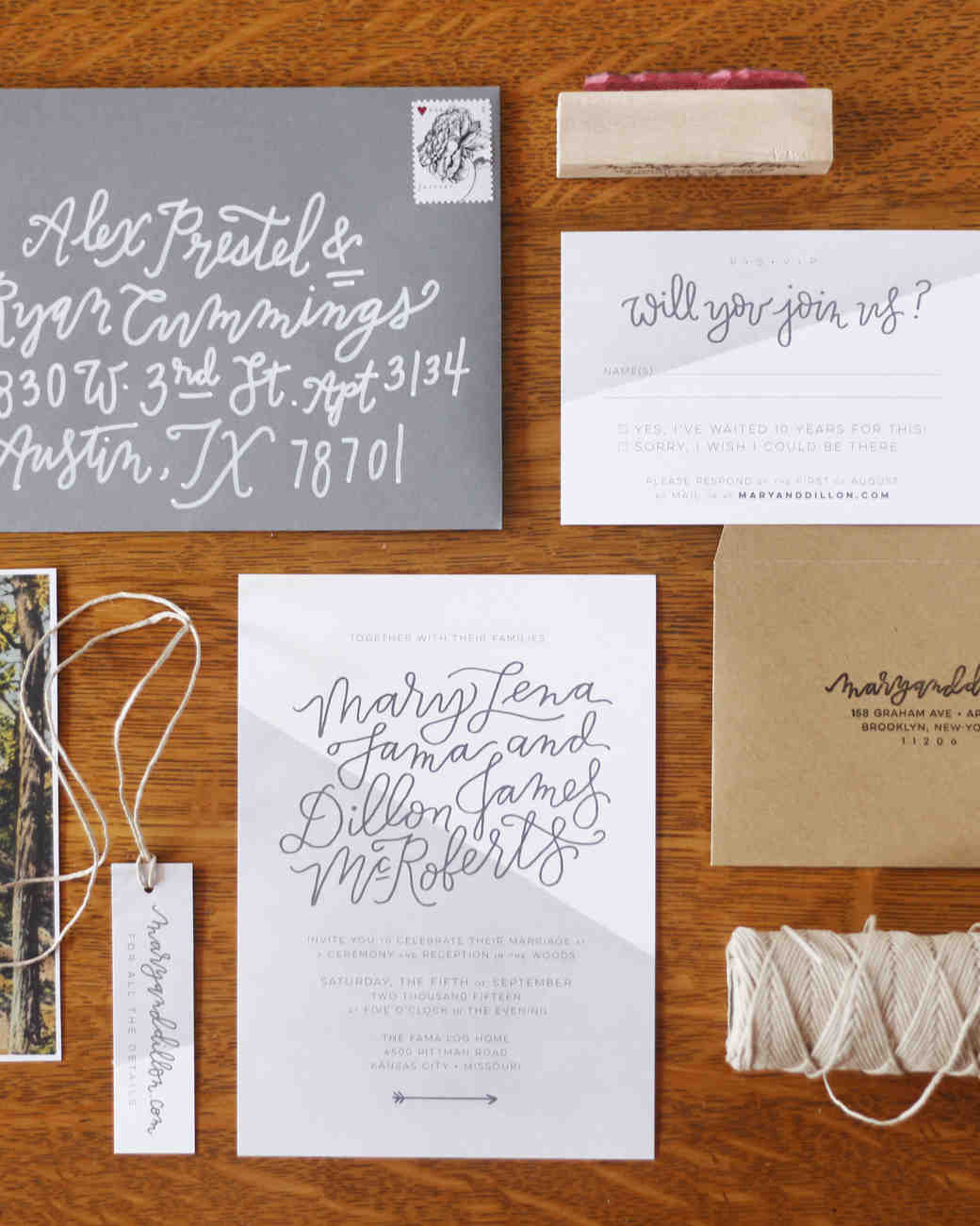 color-blocked wedding invitation