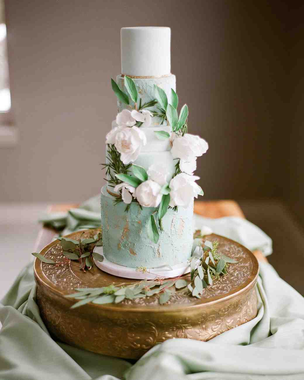 wedding cake green floral