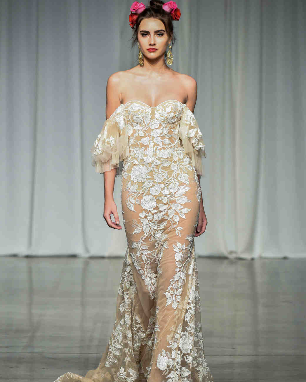 julie vino group fall 2019 sheer over the shoulder wedding dress