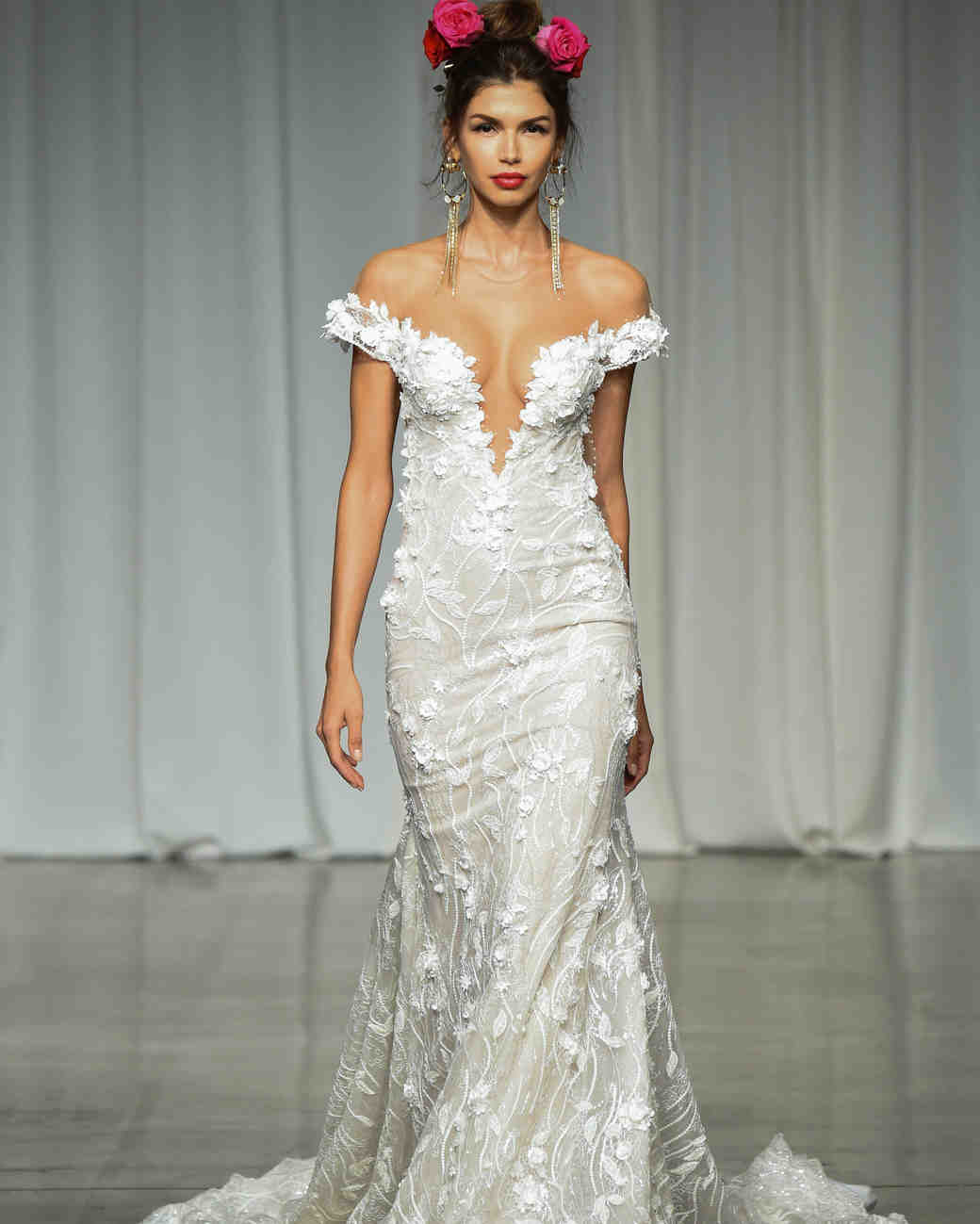julie vino group fall 2019 over the shoulder trumpet wedding dress