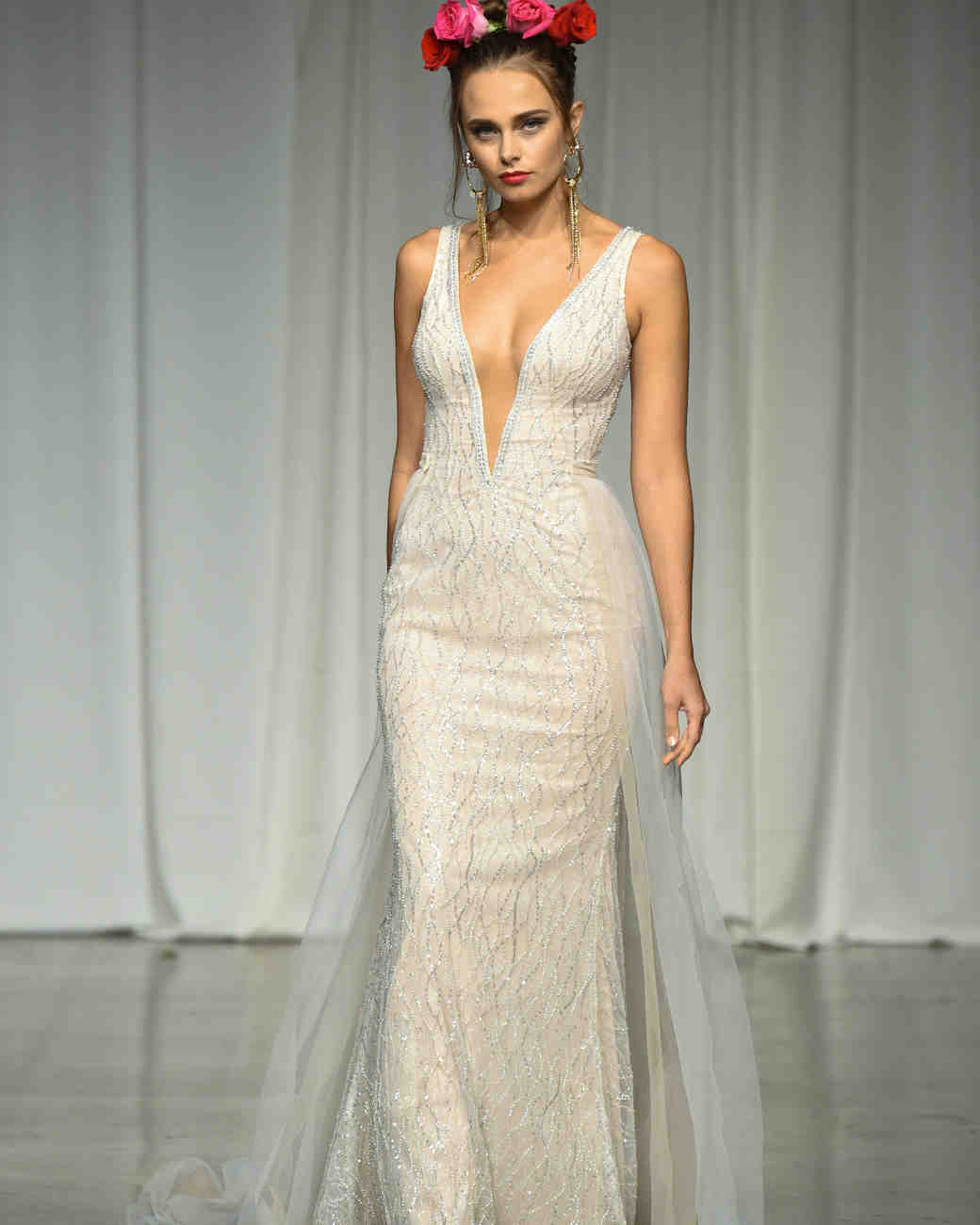 julie vino group fall 2019 sheath v-neck glitter wedding dress