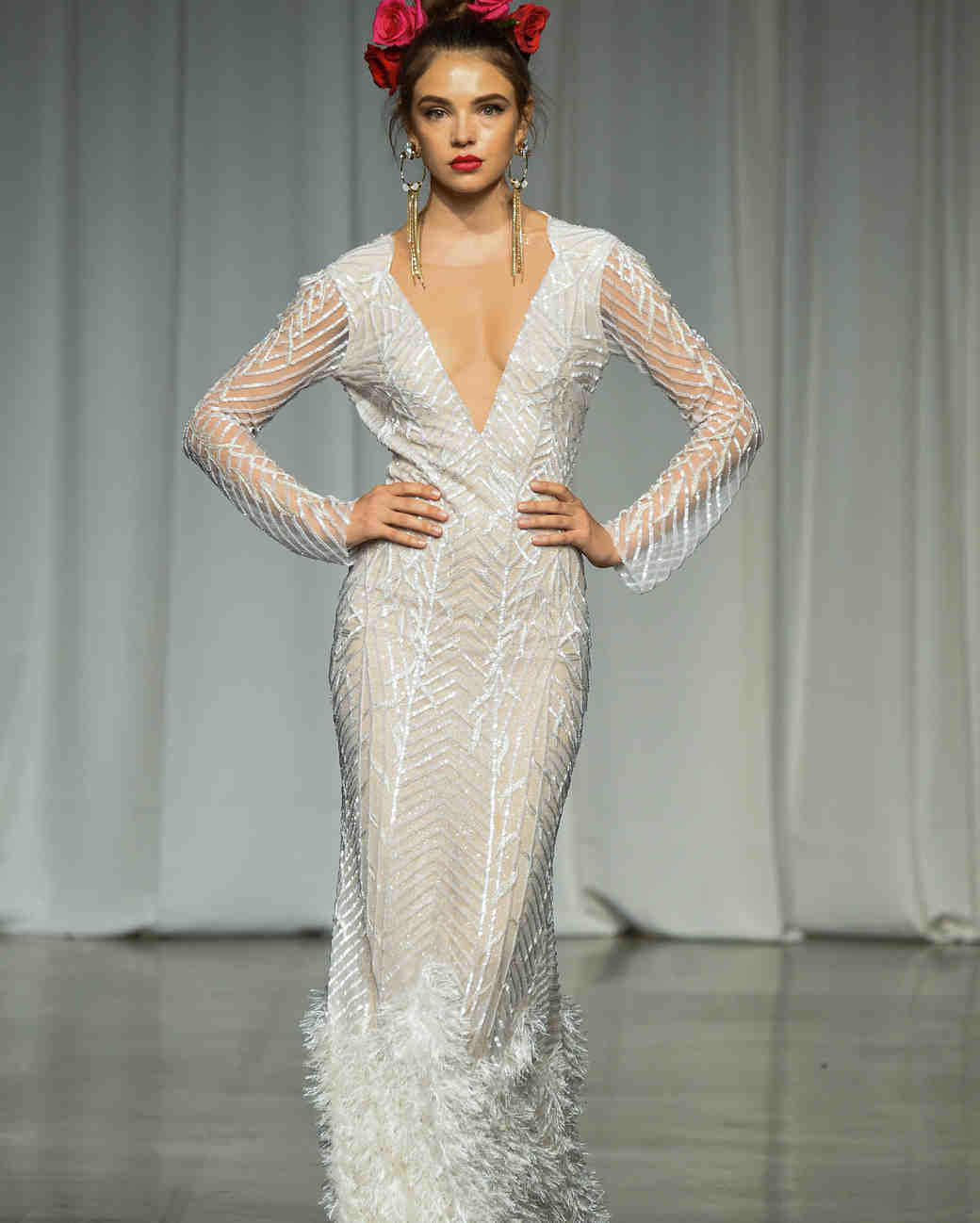 julie vino group fall 2019 sheath v-neck long sleeve wedding dress