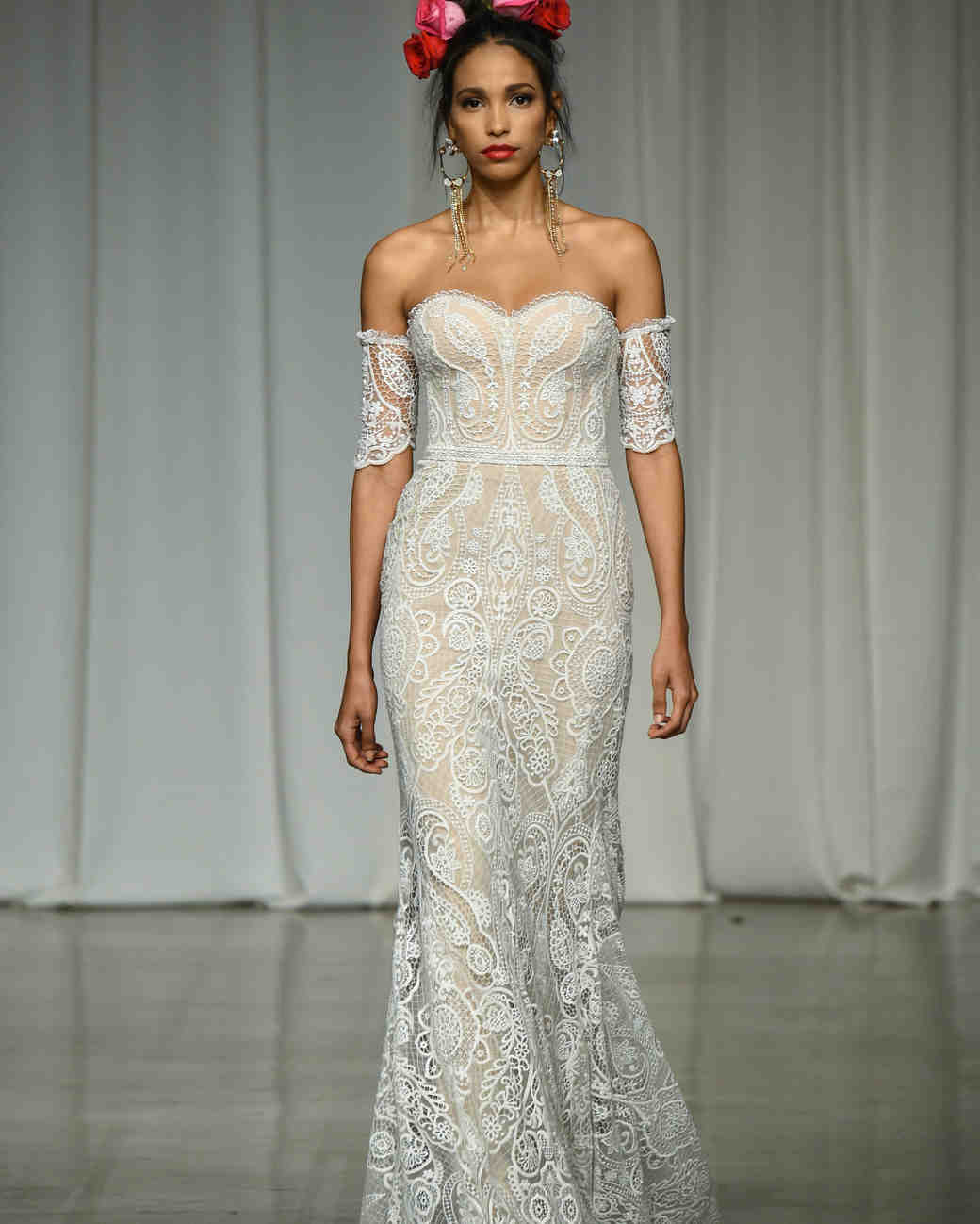 julie vino group fall 2019 sheath over the shoulder sheer wedding dress