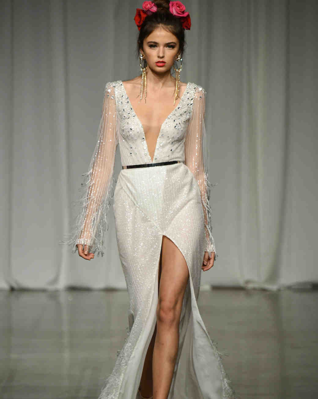 julie vino group fall 2019 high slit v-neck fringe wedding dress