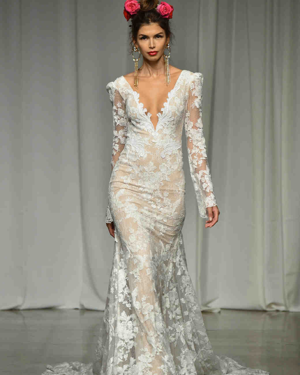 julie vino group fall 2019 sheer trumpet long sleeve wedding dress