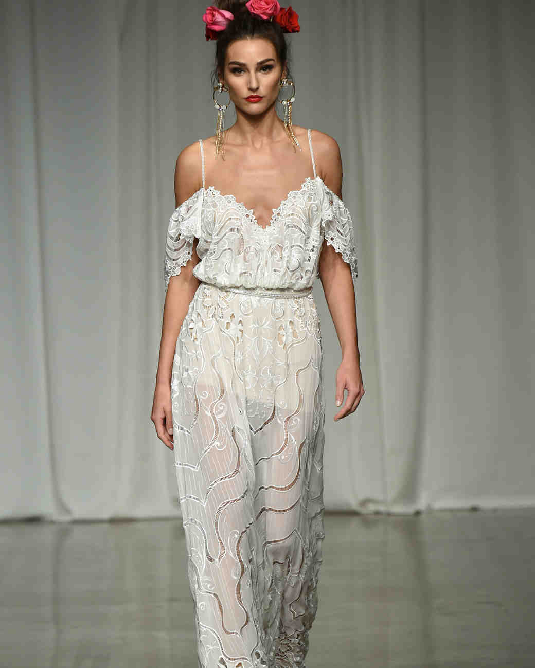 julie vino group fall 2019 over the shoulder spaghetti strap sheer wedding dress