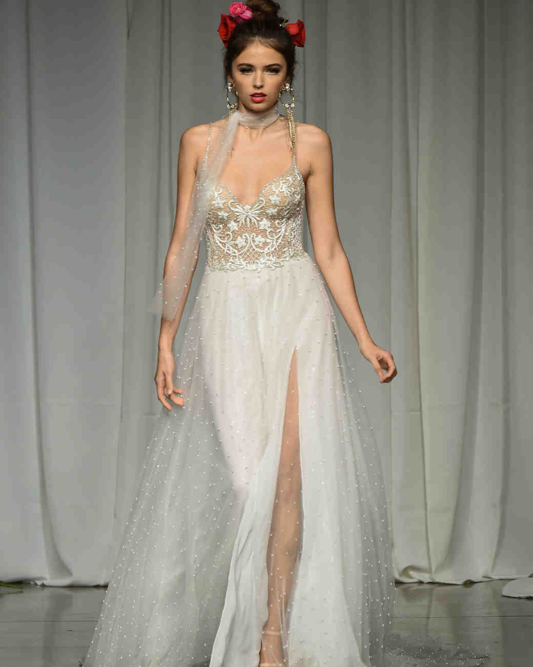 julie vino group fall 2019 high slit spaghetti strap wedding dress
