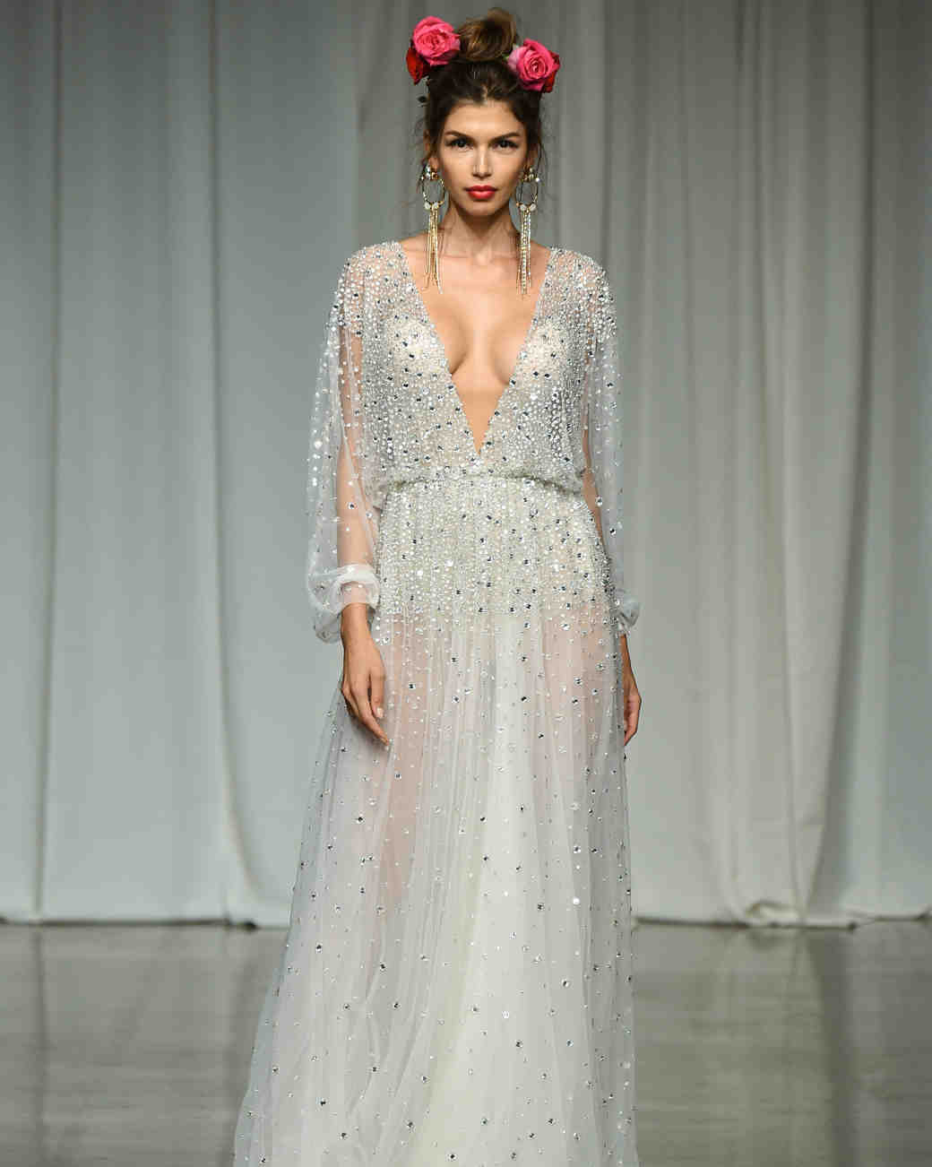 julie vino group fall 2019 long sleeve sheath glitter wedding dress