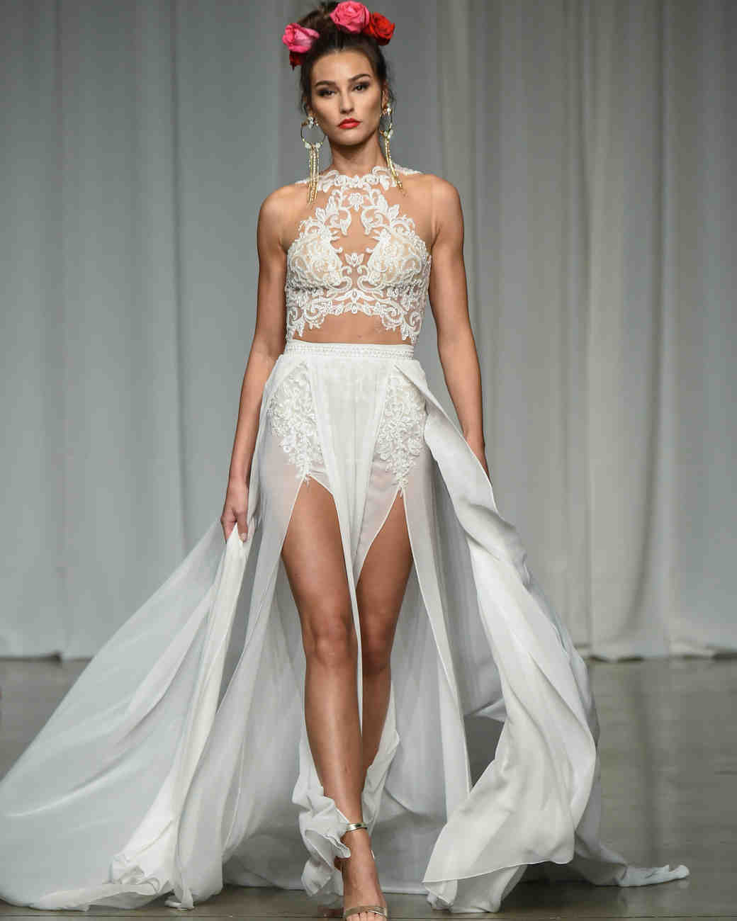 julie vino group fall 2019 high neck short overskirt wedding dress
