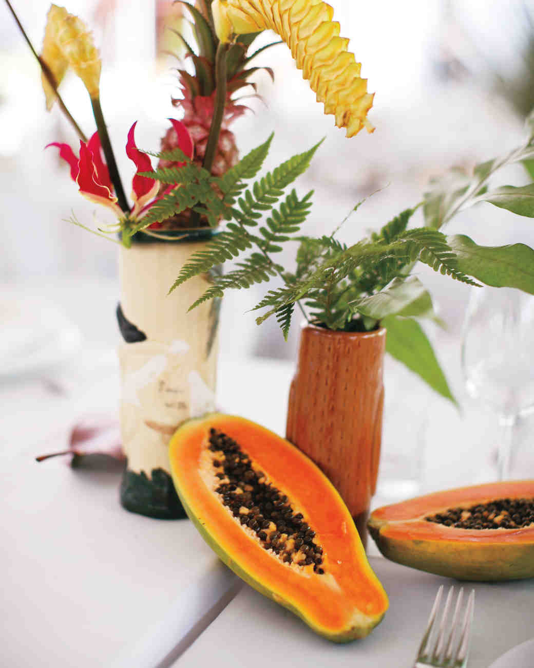 Tiki and Papaya Wedding Centerpiece