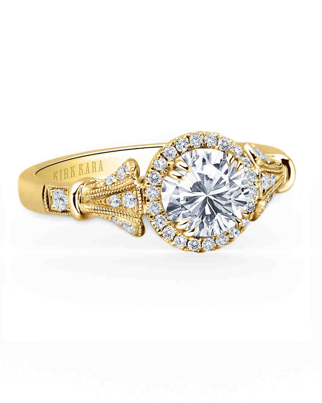 Kirk Kara Yellow Gold Engagement Ring with Detailed Shank