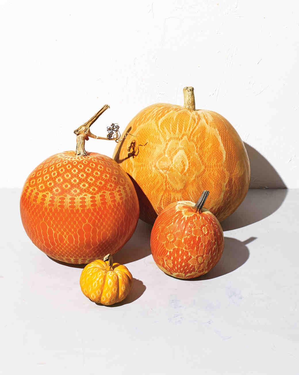 Pumpkins with Lace Paint Designs