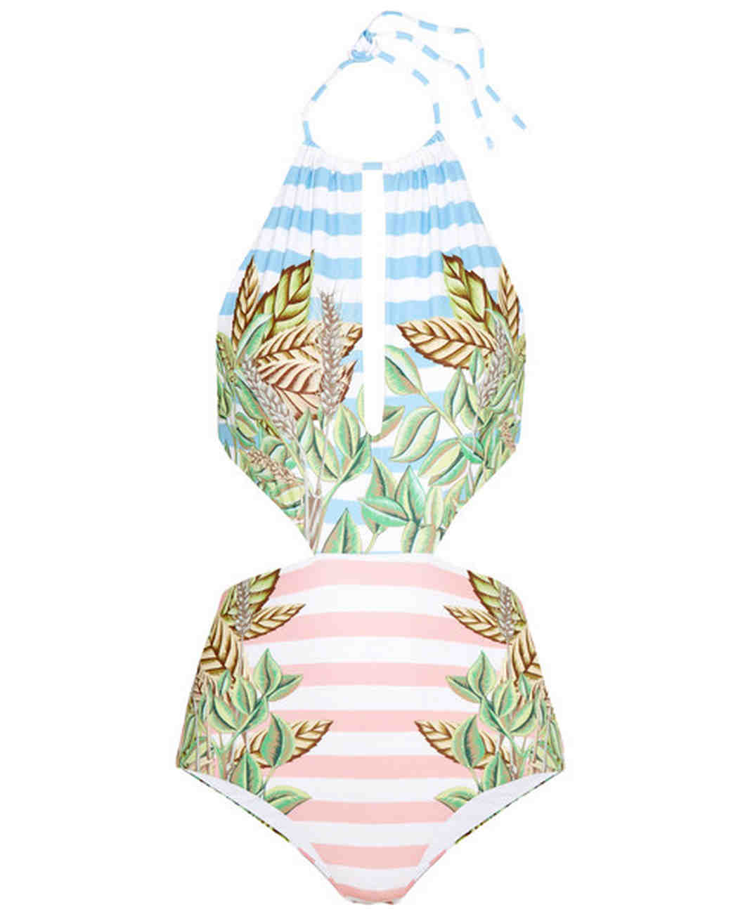 Pink and Blue Striped Halter Swimsuit with Tropical Print